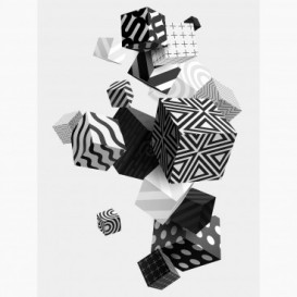 Fototapeta - PL1413 - Čierno-biele vzorované 3D kocky