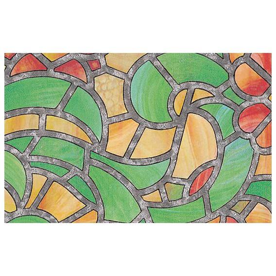 Samolepící transparentní fólie 10003 Vytrážne sklo Reims zelená / žlutá 45cm x 15m