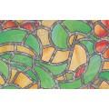 Samolepící transparentní fólie 10426 Vytrážne sklo Reims zelená / žlutá 90cm x 15m