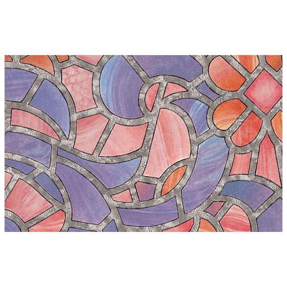 Samolepící transparentní fólie 10381 Vytrážne sklo Reims modrá / růžová 67,5cm x 15m