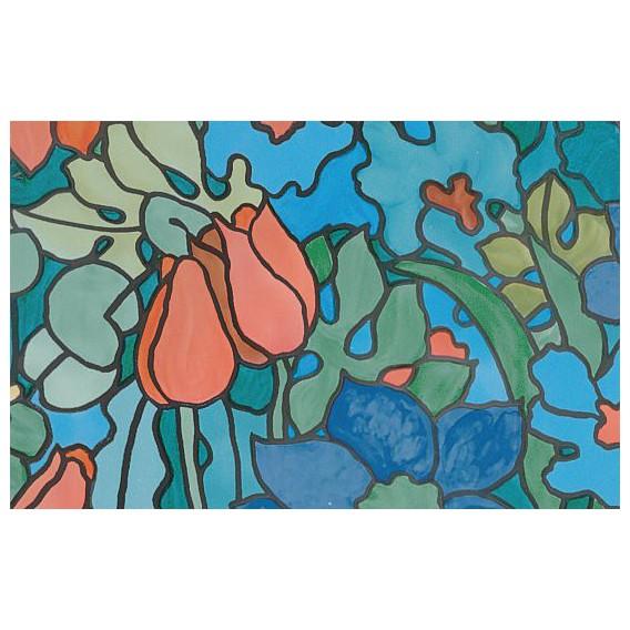 Samolepící transparentní fólie 11795 Vytrážne sklo tulipány 67,5cm x 15m