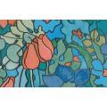 Samolepiaca transparentná fólia 11797 Vytrážne sklo Tulips 90cm x 15m