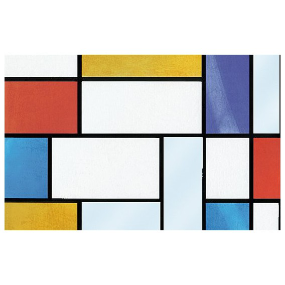 Samolepící transparentní fólie 10521 Vytrážne sklo Mondriaan 90cm x 15m