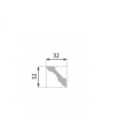 Polystyrénová stropná lišta PB-1 2m (32x32mm)