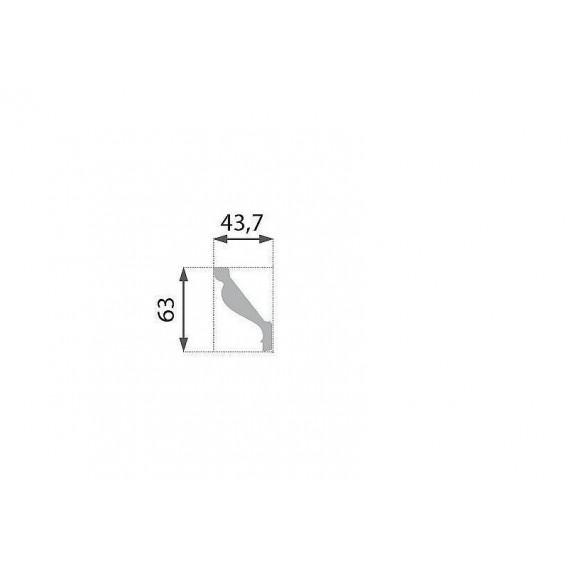 Polystyrenová stropní lišta PB-16 2m (63x43,7mm)