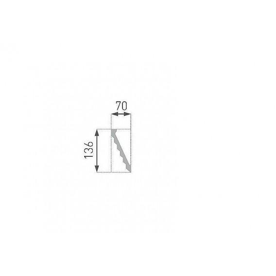 Moderná polystyrénová stropná lišta PB-37 2m(70x136mm)
