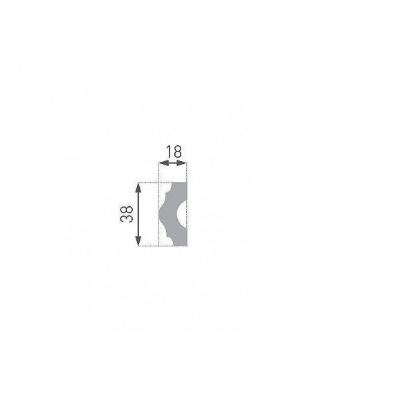 Polystyrénová nástenná lišta PE-18 2m(16x38mm)