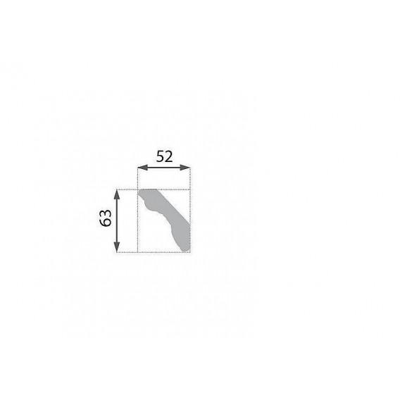 Postriebrená polystyrénová stropná lišta PB-35S 2m(52x63mm)