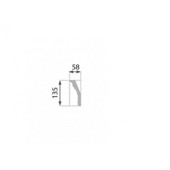Postriebrená polystyrénová stropná lišta PB-36S 2m(58x135mm)