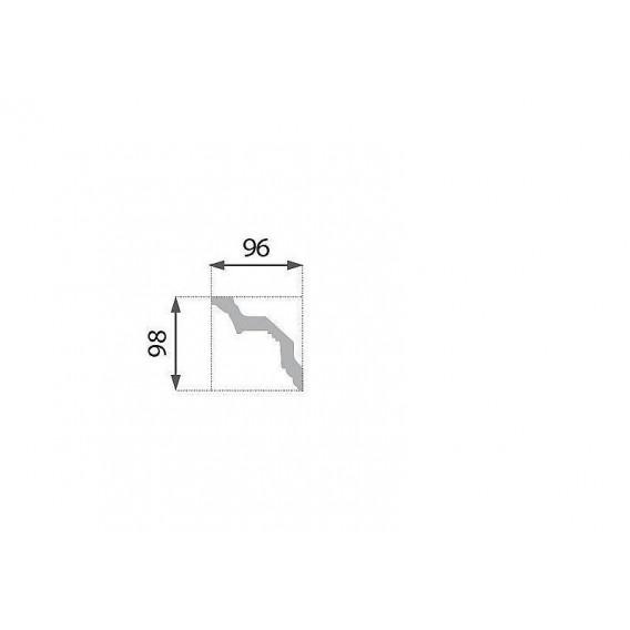 Postriebrená polystyrénová stropná lišta PB-22S 2m(96x98mm)
