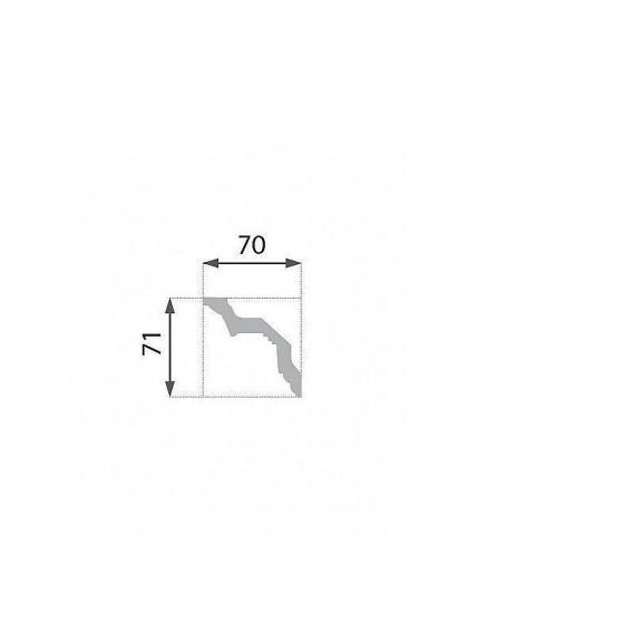 Postriebrená polystyrénová stropná lišta PB-23S 2m(70x71mm)