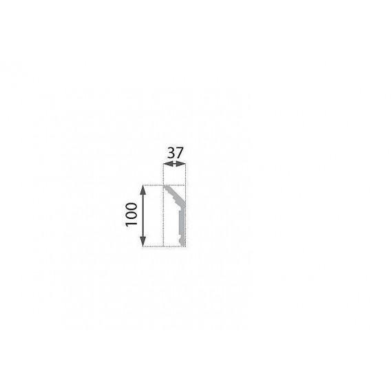 Postriebrená polystyrénová stropná lišta PB-25S 2m(37x100mm)