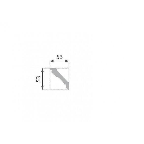 Postriebrená polystyrénová stropná lišta PB-6S 2m(53x53mm)