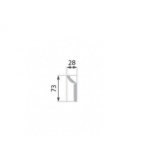 Postriebrená polystyrénová stropná lišta PB-21S 2m(28x73mm)