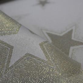 Vianočný obojstranný teflónový obrus zlatý Hviezdy