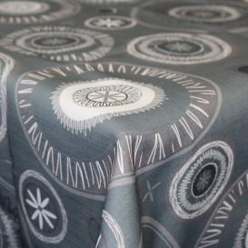 Obrus teflónový Sivý-biele kruhy