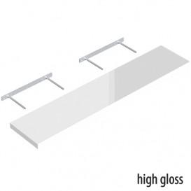 Samonosná polica biela lesklá 118,5x23,5cm
