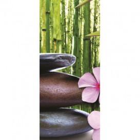 Dverová fototapeta - DV0014 - Zelené listy , kamienky , kvety