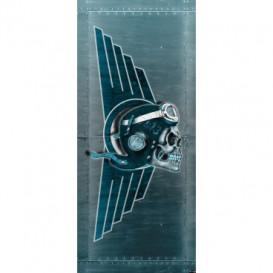 Dverová fototapeta - DV0321 - Lebka – pilot modrý
