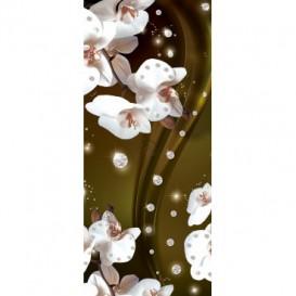 Dverová fototapeta - FT3105 - Biele kvety na žltom pozadí