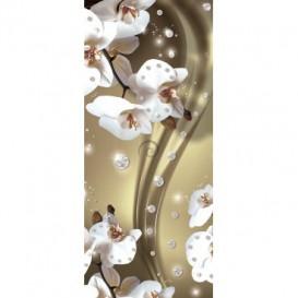 Dverová fototapeta - FT3108 - Biele kvety na zlatom pozadí