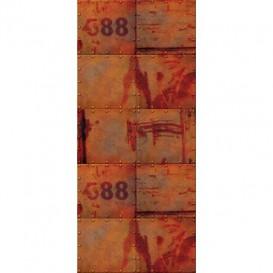 Dverová fototapeta - FT3499 - Stena - hrdzavý plech