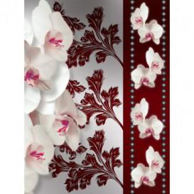 Fototapeta panel - PL0110 - Biele kvety na červenom pozadí