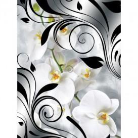 Fototapeta panel - PL0269 - Biele kvety na čiernobielom pozadí