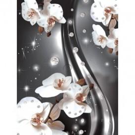 Fototapeta panel - PL0387 - Biele kvety na striebornom pozadí