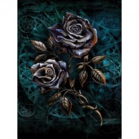 Fototapeta panel - PL0404 - Kovové ruže – modré