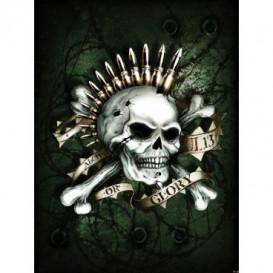 Fototapeta panel - PL0549 - Lebka s nábojmi – zelená