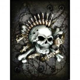 Fototapeta panel - PL0550 - Lebka s nábojmi – sivá