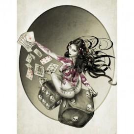 Fototapeta panel - PL0551 - Hráčske kocky – žena sivá