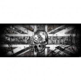 Panoramatická fototapeta - FT2256 - Lebka – anglická vlajka sivá