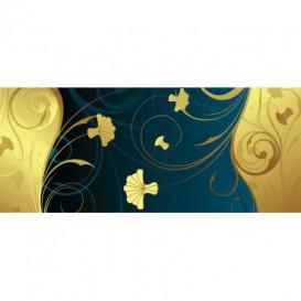 Panoramatická fototapeta - FT4456 - Zlato modré kvety