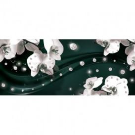 Panoramatická fototapeta - FT3102 - Biele kvety na zelenom pozadí
