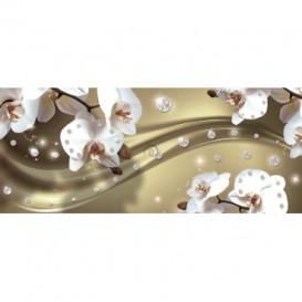 Panoramatická fototapeta - FT3109 - Biele kvety na zlatom pozadí