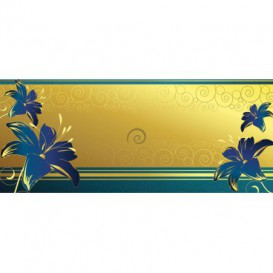 Panoramatická fototapeta - FT3738 - Modré kvety na zlatom pozadí