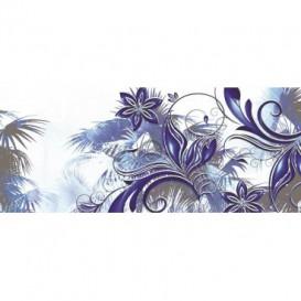 Panoramatická fototapeta - PA0180 - Kreslené modrofialové kvety
