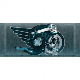 Panoramatická fototapeta - PA4016 - Lebka – pilot modrý