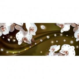 Panoramatická fototapeta - PA4156 - Biele kvety na žltom pozadí