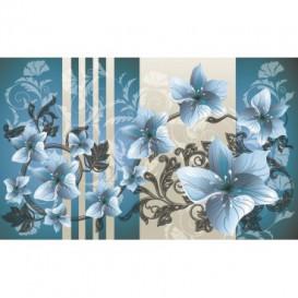 Fototapeta na stenu - FT2861 - Modré kvety na modrom pozadí
