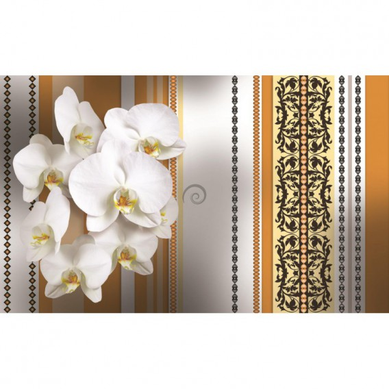 Fototapeta na stenu - FT2883 - Biele kvety na oranžovom pozadí