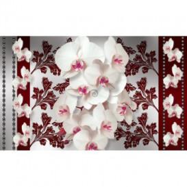 Fototapeta na stenu - FT4508 - Biele kvety na červenom pozadí