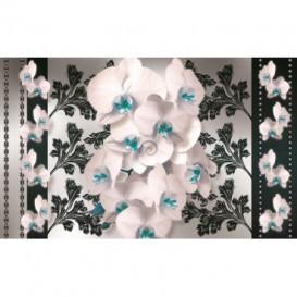 Fototapeta na stenu - FT2885 - Biele kvety na čiernom pozadí