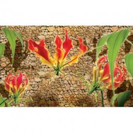 Fototapeta na stenu - FT2946 - Červené ľalie na kamennom pozadí