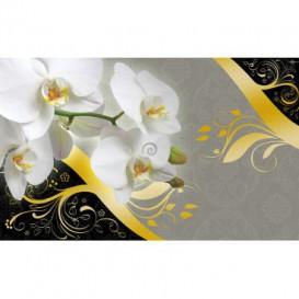 Fototapeta na stenu - FT3616 - Biele kvety na sivočiernom pozadí