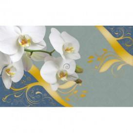 Fototapeta na stenu - FT3617 - Biele kvety na modrom pozadí