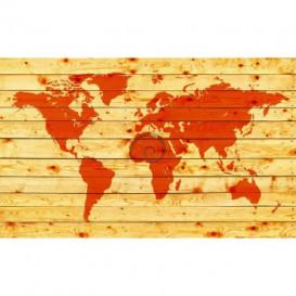 Fototapeta na zeď - FT3649 - Mapa světa - dřevěná