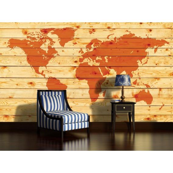 Fototapeta na stenu - FT3649 - Mapa sveta – drevená
